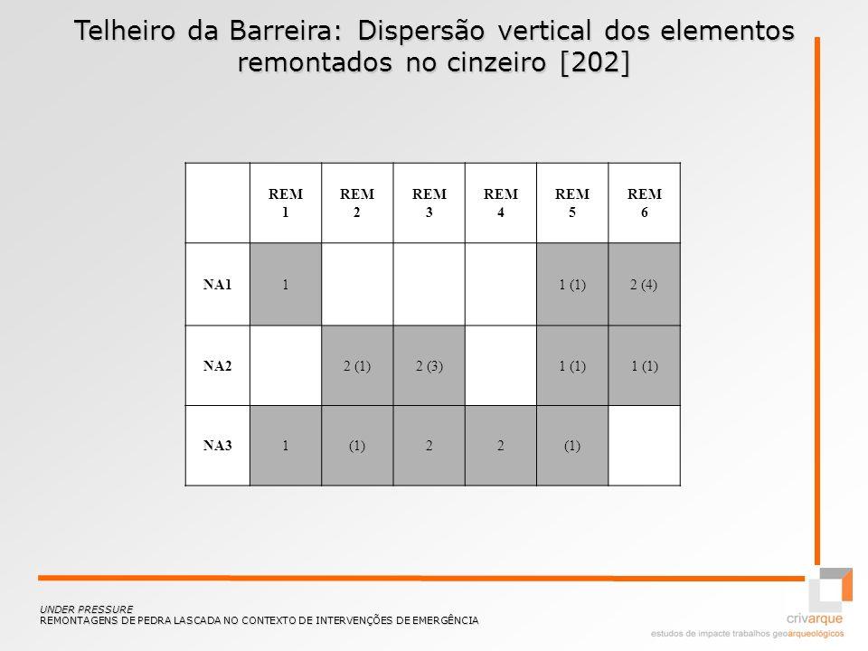 Telheiro da Barreira: Dispersão vertical dos elementos remontados no cinzeiro [202]
